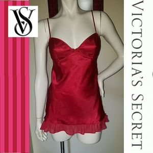NEW Victoria's Secret Red100% Silk Nighty Lingerie